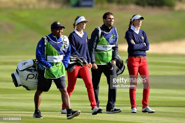 Noemi Jimenez and Silvia Banon of Spain walk on hole two during match 1 of Group A during day one of the European Golf Team Championships at...