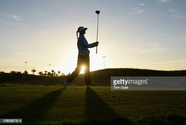 Noemi Jimenez Martin of Spain tees off form the 1st hole during Day Two of the Fatima Bint Mubarak Ladies Open at Saadiyat Beach Golf Club on January...