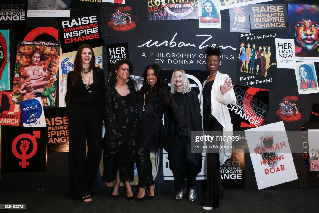 Noemi Manser, Tawny Chatmon, Mashonda Tifrere, Lacey Mckinney and Nichole Washington during the ArtLeadHER Presents 'Her Time Is Now' at Urban Zen on March 8, 2018 in New York City.