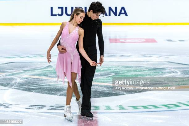 Noemi Maria Tali and Stefano Frasca of Italy perform during the ISU Junior Grand Prix of Figure Skating at Tivoli Hall on September 25, 2021 in...
