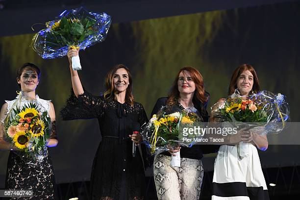 Noemi Merlant Clotilde CourauMarieCastille MentionSchaar and Naomi Armager attend 'Le ciel attendra' premiere during the 69th Locarno Film Festival...