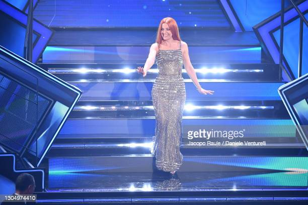 Noemi performs at the 71th Sanremo Music Festival 2021 at Teatro Ariston on March 02, 2021 in Sanremo, Italy.