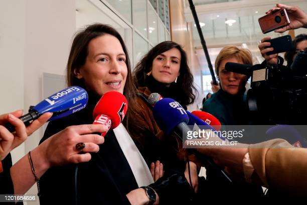 Noemi SaidiCottier lawyer of Alexandra de Taddeo speaks to the press at the Tribunal de Paris courthouse in Paris on February 18 after her client and...