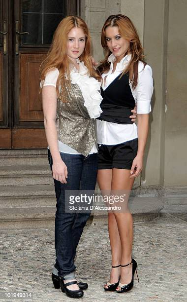 Noemi Smorra and Lola Ponce attend 'I Promessi Sposi' Press Conference held at Palazzo Marino on June 10, 2010 in Milan, Italy.