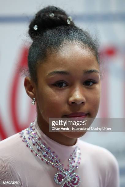 Noemie Bodenstein of Switzerland look on at the kiss and cry in the Junior Ladies Free Skating Program during day four of the ISU Junior Grand Prix...