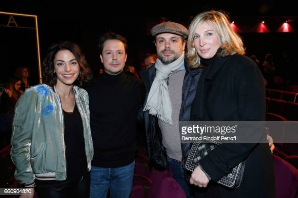 Noemie Elbaz her husband Davy Sardou Romain Sardou and his wife Francesca Sardou attend the Hotel des deux mondes Theater Play at Theatre Rive Gauche...