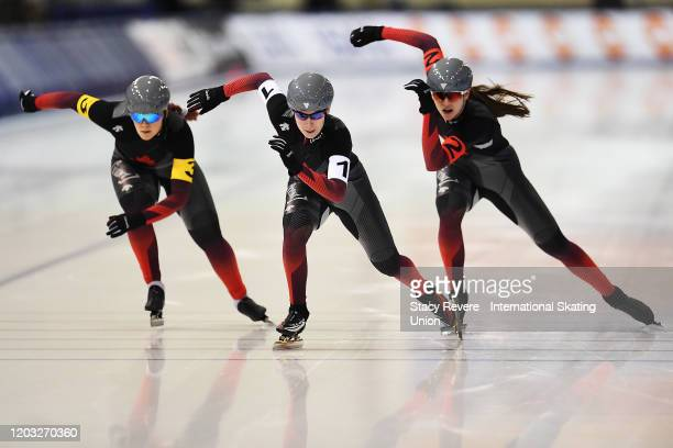 Noemie Fiset , Beatrice Lamarche and Brooklyn McDougall of Canada compete in the Ladies Team Sprint during day one of the ISU Four Continents Speed...