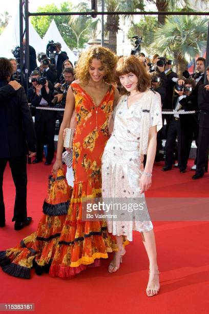 """Noemie Lenoir and Milla Jovovich during 2005 Cannes Film Festival - """"The Three Burials of Melquiades Estrada"""" Premiere in Cannes, France."""