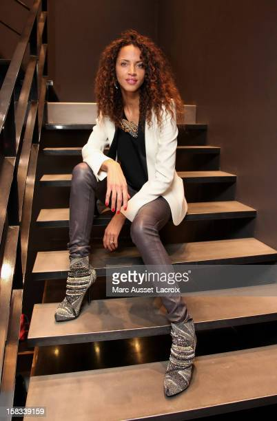 Noemie Lenoir poses for the inauguration at Kabuki Shop on December 13 2012 in Paris France