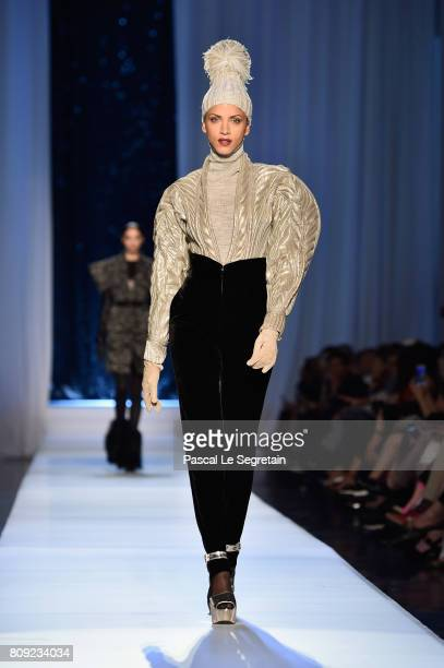 Noemie Lenoir walks the runway during the Jean Paul Gaultier Haute Couture Fall/Winter 20172018 show as part of Haute Couture Paris Fashion Week on...