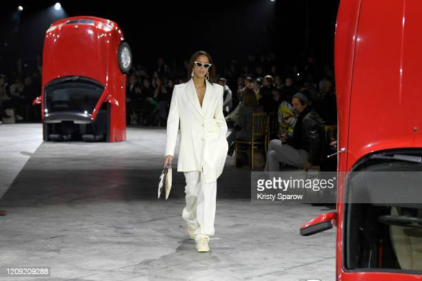 Noemie Lenoir walks the runway during the Off-White show as part of Paris Fashion Week Womenswear Fall/Winter 2020/2021 on February 27, 2020 in...