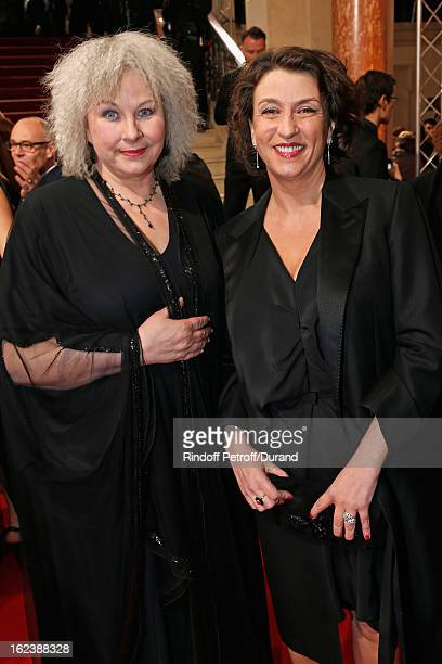 Noemie Lvovsky and Yolande Moreau arrive to attend the Cesar Film Awards 2013 at Theatre du Chatelet on February 22 2013 in Paris France