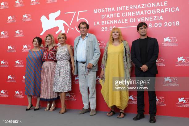 Noemie Lvovsky Valeria Golino Valeria Bruni Tedeschi Bruno Raffaelli Yolande Moreau and Riccardo Scamarcio attend The Summer House photocall during...