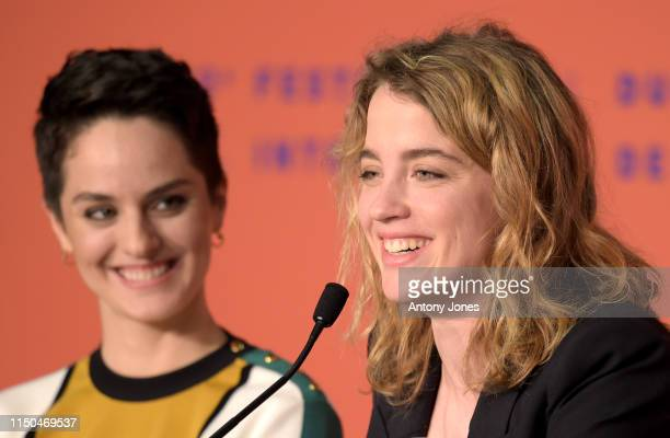 Noemie Merlant and Adele Haene attend the Portrait Of A Lady On Fire Press Conference during the 72nd annual Cannes Film Festival on May 20 2019 in...