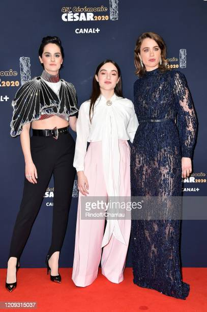 Noemie Merlant, Luana Bajrami and Adele Haenel arrive at the Cesar Film Awards 2020 Ceremony At Salle Pleyel In Paris on February 28, 2020 in Paris,...