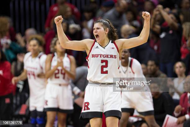 Noga Peleg Pelc of the Rutgers Scarlet Knights reacts in the first half against the Central Connecticut State Blue Devils at the Rutgers Athletic...