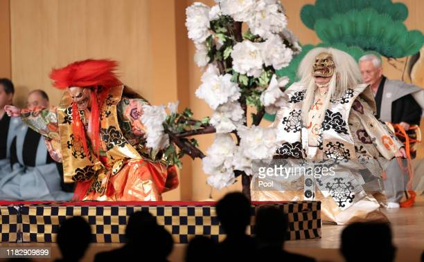 Noh actors Kanze Kiyokazu and his son Saburota Kanze perform 'Shakkyo' during the banquet hosted by the Prime Minister of Japan Shinzo Abe and his...