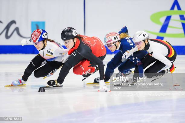Noh Ah Rum of Korea earns the fastest time of 220526 in the 1500m women's semifinal during the ISU World Cup Short Track Calgary at the Olympic Oval...