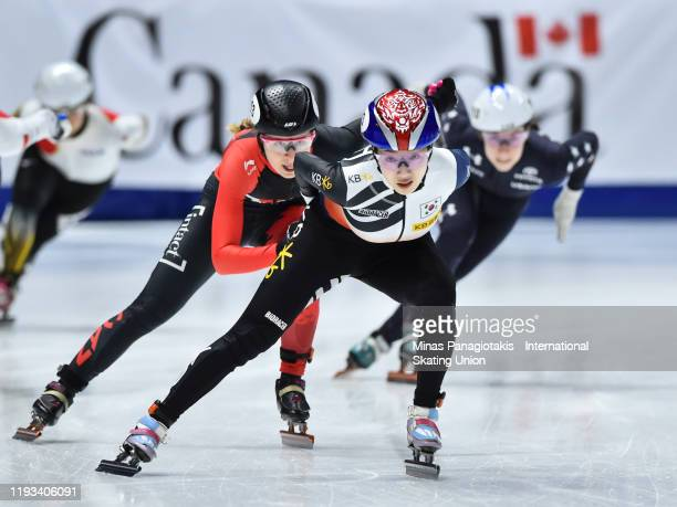 Noh Ah Rum of the Republic takes the lead in the ladies 3000m relay final during the ISU Four Continents Short Track Speed Skating Championships at...