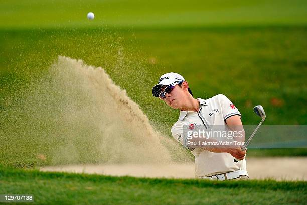 Noh Seungyul of Korea plays a shot during round one of the CJ Invitational at Haesley Nine Bridges Golf Club on October 20 2011 in Yeojugun South...