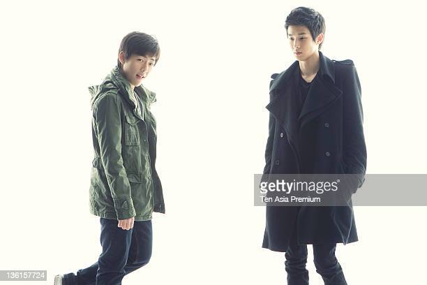 Noh YoungHak and Choi WooSik pose for photographs on March 11 2011 in Seoul South Korea