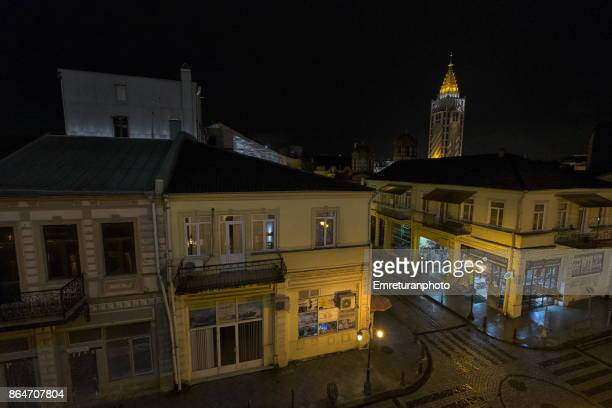 nohe zordania street and batumi piazza at the background at night. - emreturanphoto stock pictures, royalty-free photos & images