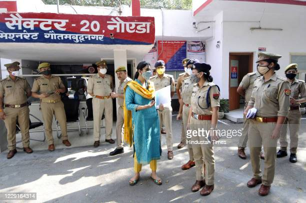 Noida Authority CEO Ritu Maheshwari, who is Nodal Officer for Mission Shakti in GB Nagar, during inspection of Women Centre at Sector 20 Police...