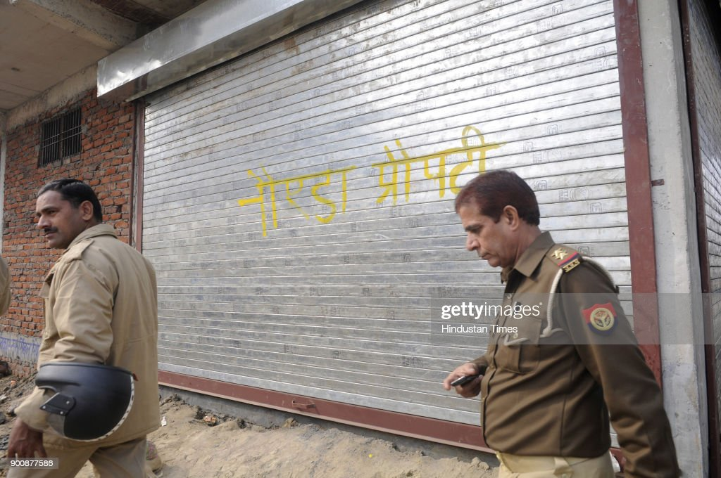 Noida authority has sealed 11 illegal buildings at ghadi chokhandi sector 68 on January 3, 2018 in Noida, India.