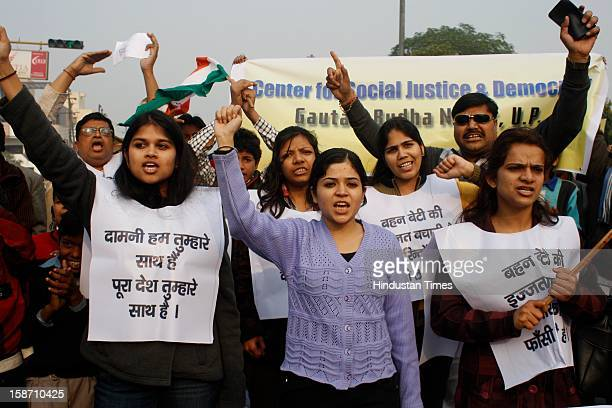 Noida residents took out a rally against Delhi gang rape case from Shaheed Smarak to District Magistrate office at Sector 27 on December 25, 2012 in...