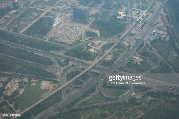 noida-greater noida expressway in india daytime aerial view from airplane - uttar pradesh stock pictures, royalty-free photos & images