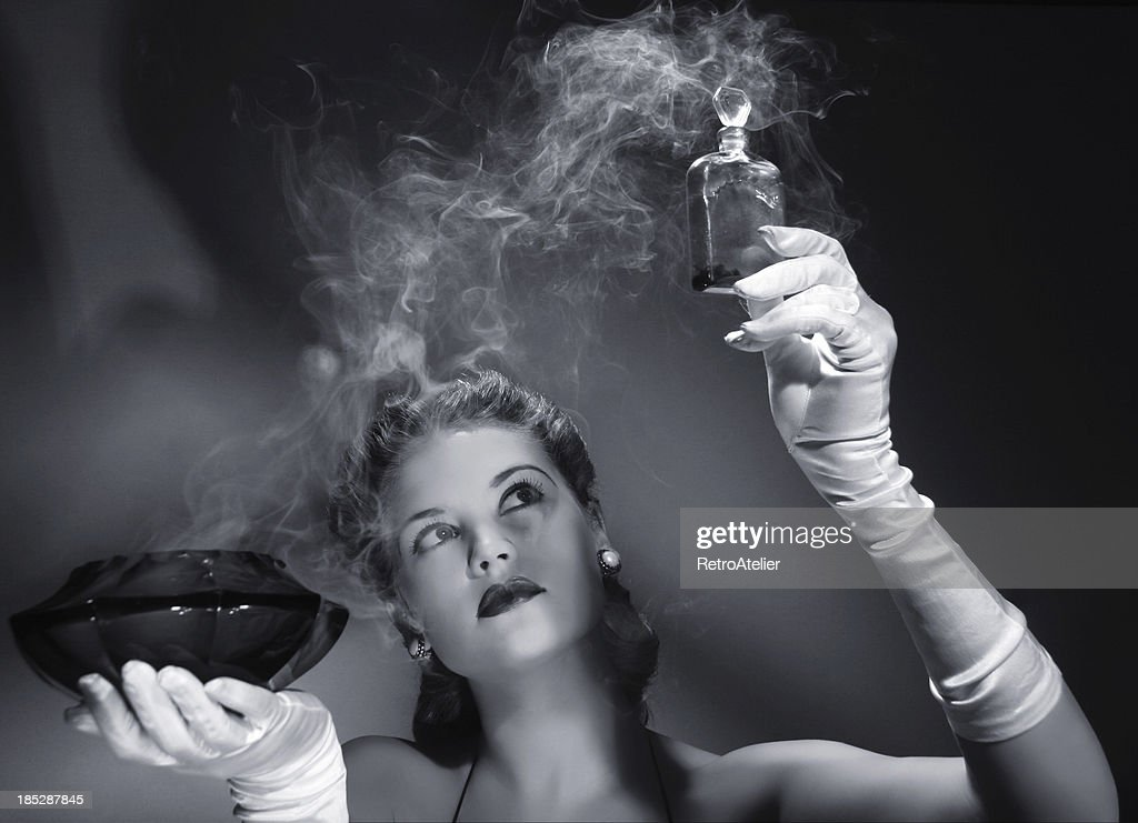 Noir style.Love potion is ready! : Stock Photo