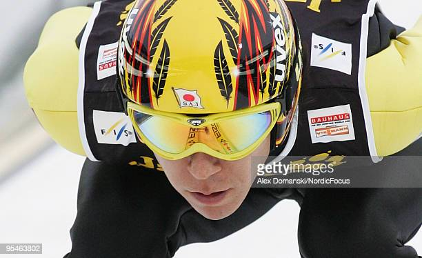 Noiraki Kasai of Japan competes during the FIS Ski Jumping World Cup event at the 58th Four Hills Ski Jumping Tournament on December 28 2009 in...