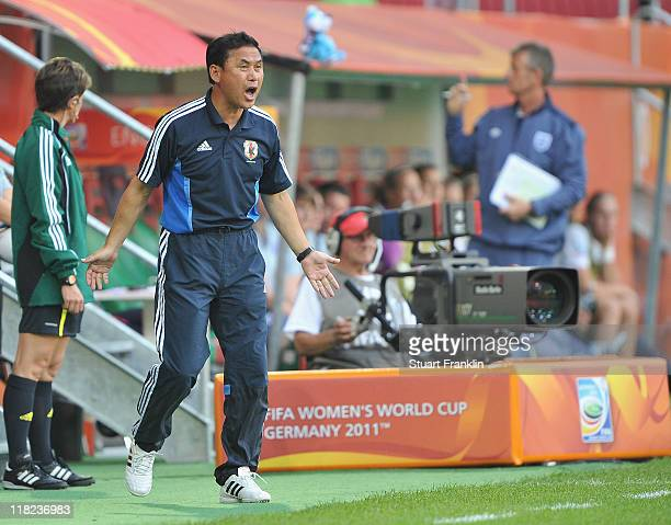 Noiro Sasaki head coach of Japan looks on during the FIFA Women's World Cup 2011 group B match between England and Japan at the FIFA World Cup...