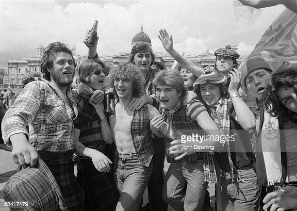 Noisy group of Scottish football fans in Trafalgar Square, circa 1980.