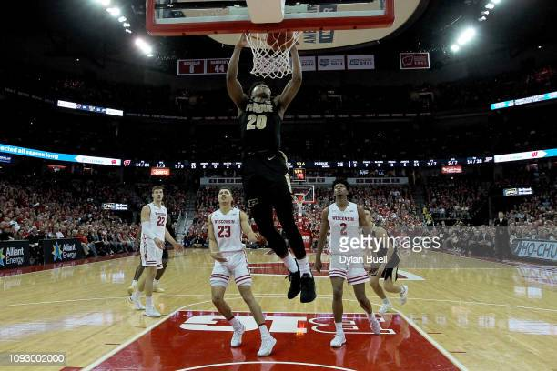 Nojel Eastern of the Purdue Boilermakers dunks the ball in the first half against the Wisconsin Badgers at the Kohl Center on January 11 2019 in...