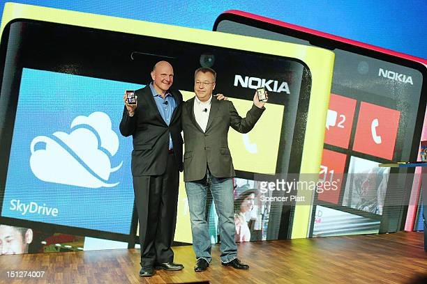 Nokia Chief Executive Stephen Elop stands with Steve Ballmer Chief Executive Officer of Microsoft during the introduction of the new Nokia Lumia 920...