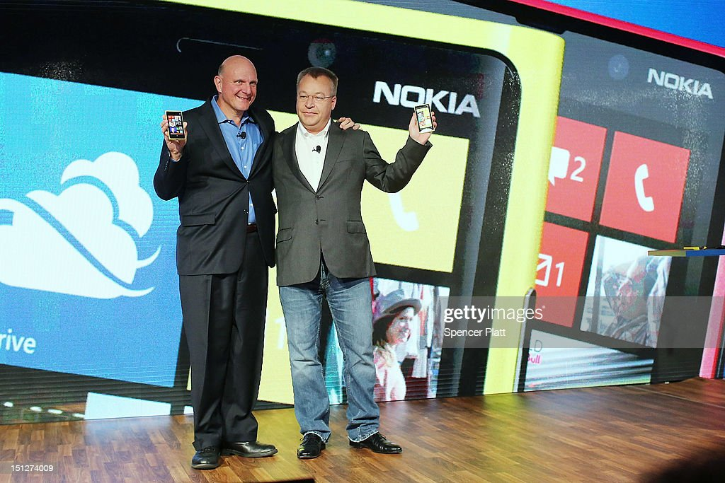 Nokia Chief Executive Stephen Elop (R) stands with Steve Ballmer, Chief Executive Officer of Microsoft, during the introduction of the new Nokia Lumia 920 and 820 Windows smartphones on September 5, 2012 in New York City. The new Nokia phones are the first smartphones built for Windows 8. Analysts see the new phones as Nokia's last chance to compete with fellow technology companies Apple and Samsung in the lucrative smartphone market.