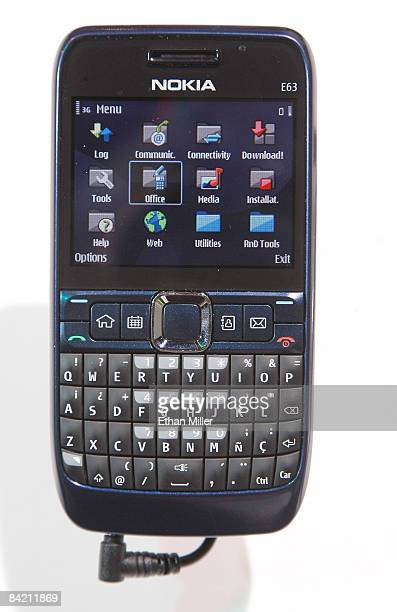 A nokia E63 phone is displayed at the 2009 International Consumer Electronics Show at the Las Vegas Convention Center January 8 2009 in Las Vegas...