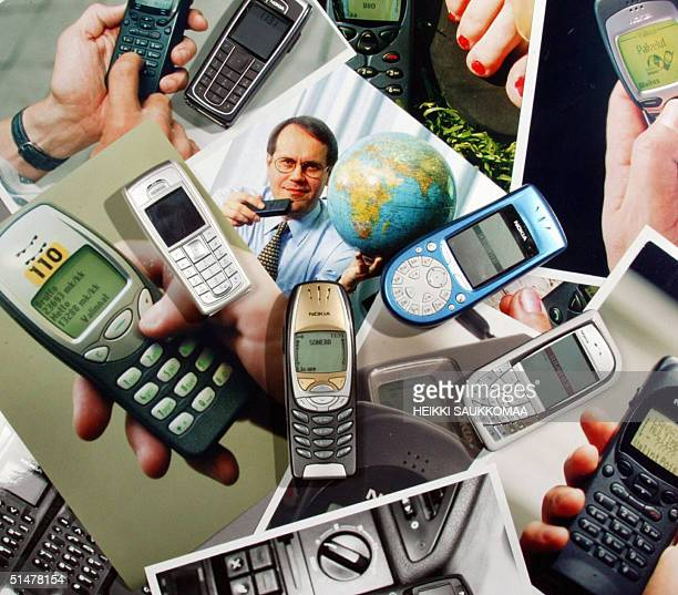 Nokia mobile telephones are pictured 14 October 2004 with old photos of Nokia models and a picture with the firm's Chairman and Chief Executive...