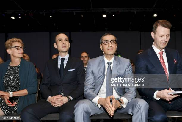Nokia's Board Member Elizabeth Nelson Chief Financial Officer Kristian Pullola Nokia CEO Rajeev Suri and Chairman Risto Siilasmaa are pictured at the...