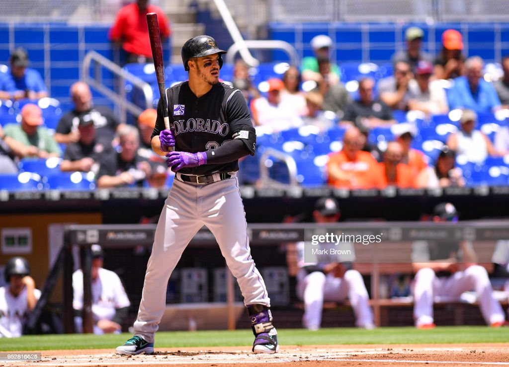 Nolan Arenado #28 of the Colorado Rockies bats in the first inning against the Miami Marlins at Marlins Park on April 29, 2018 in Miami, Florida.