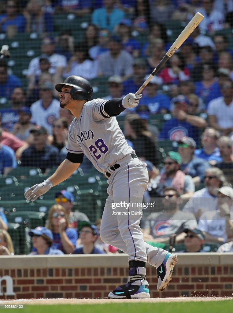 Nolan Arenado #28 of the Colorado Rockies hits a two run home run in the 1st inning against the Chicago Cubs at Wrigley Field on May 2, 2018 in Chicago, Illinois.