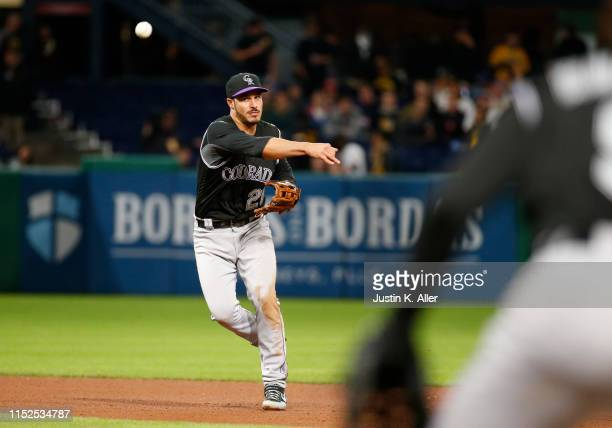 Nolan Arenado of the Colorado Rockies in action against the Pittsburgh Pirates at PNC Park on May 21, 2019 in Pittsburgh, Pennsylvania.