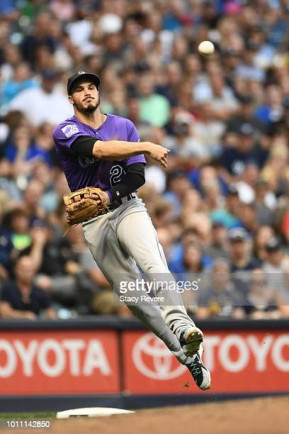 Nolan Arenado of the Colorado Rockies makes a throw to first base during the fifth inning of a game against the Milwaukee Brewers at Miller Park on...