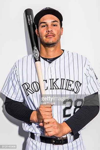 Nolan Arenado of the Colorado Rockies poses for a portrait at the Salt River Fields at Talking Stick on February 29 2016 in Sottsdale Arizona