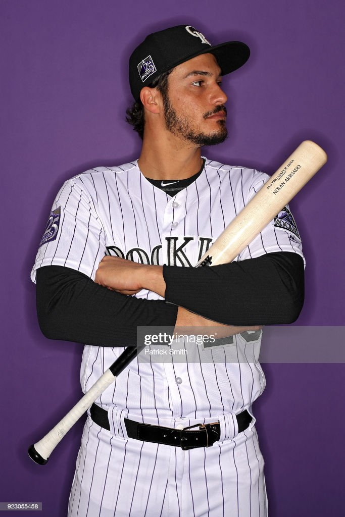 Nolan Arenado #28 of the Colorado Rockies poses on photo day during MLB Spring Training at Salt River Fields at Talking Stick on February 22, 2018 in Scottsdale, Arizona.