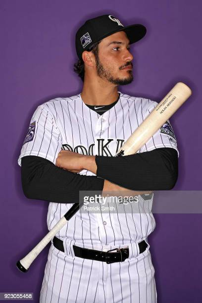 Nolan Arenado of the Colorado Rockies poses on photo day during MLB Spring Training at Salt River Fields at Talking Stick on February 22 2018 in...