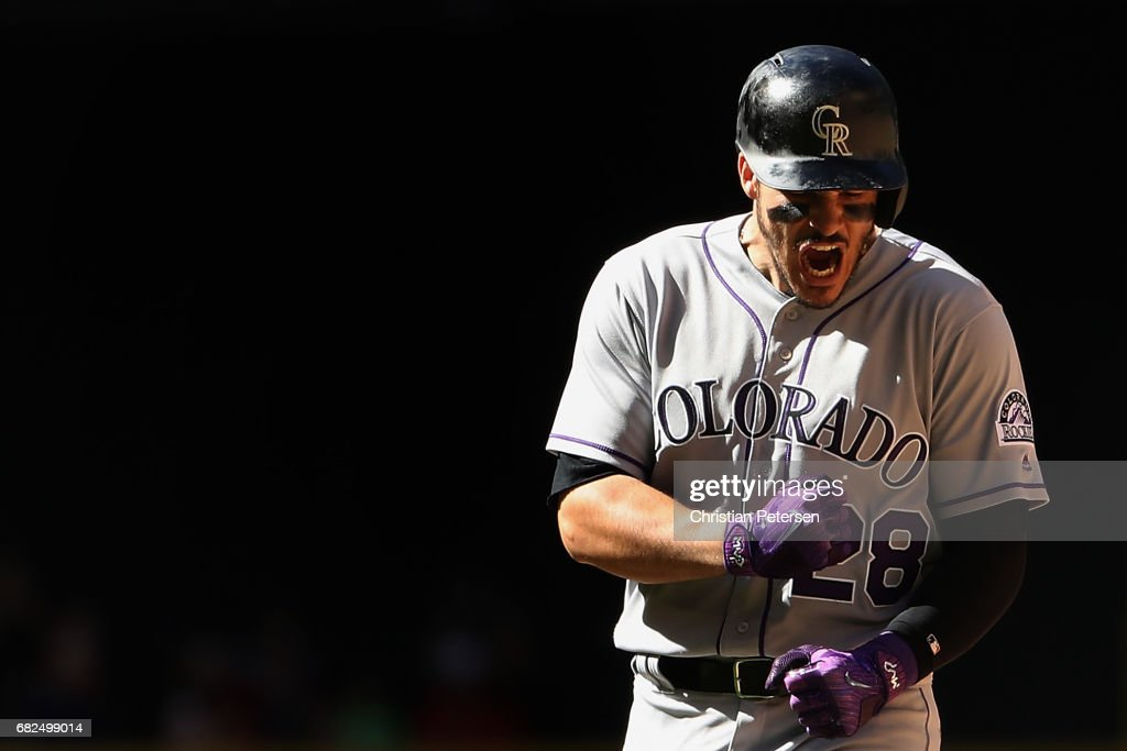 Nolan Arenado #28 of the Colorado Rockies reacts during the MLB game against the Arizona Diamondbacks at Chase Field on April 30, 2017 in Phoenix, Arizona.