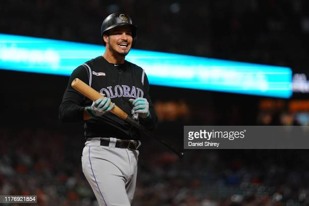 Nolan Arenado of the Colorado Rockies reacts to a strike out during the third inning against the San Francisco Giants at Oracle Park on September 24...