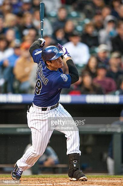Nolan Arenado of the Colorado Rockies takes an at bat against the Tampa Bay Rays during a game at Coors Field on May 4 2013 in Denver Colorado The...